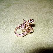 REDUCED Jeweled Cobra Snake Ring - 15.77 Grams of 14 Karat Gold!