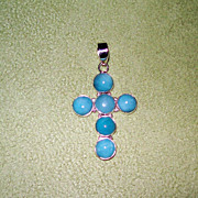 Hand Crafted Russian Amazonite Cross Pendant set in Sterling Silver