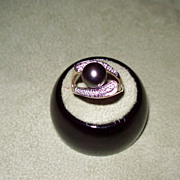 SALE Black Tahitian Pearl and Diamond Ring in Yellow Gold