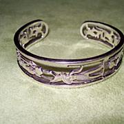SALE PENDING Egyptian Hieroglyph Sterling Silver Cuff Bracelet
