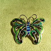 SALE Vintage Mexican Enameled Butterfly Pin