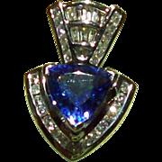 SALE 4.25 Carat Trillion Cut Tanzanite and Diamond Pendant set in 14 kt. White Gold