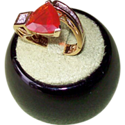 SALE Mexican Fire Opal and Diamond Ring Set in 18 Karat Yellow Gold