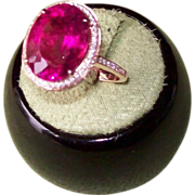 REDUCED Ruby Red Rubellite Tourmaline and Diamond Ring in 14 karat rose gold
