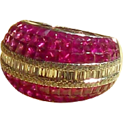SALE Ruby and Diamond Domed Band Ring in 18 Karat White Gold